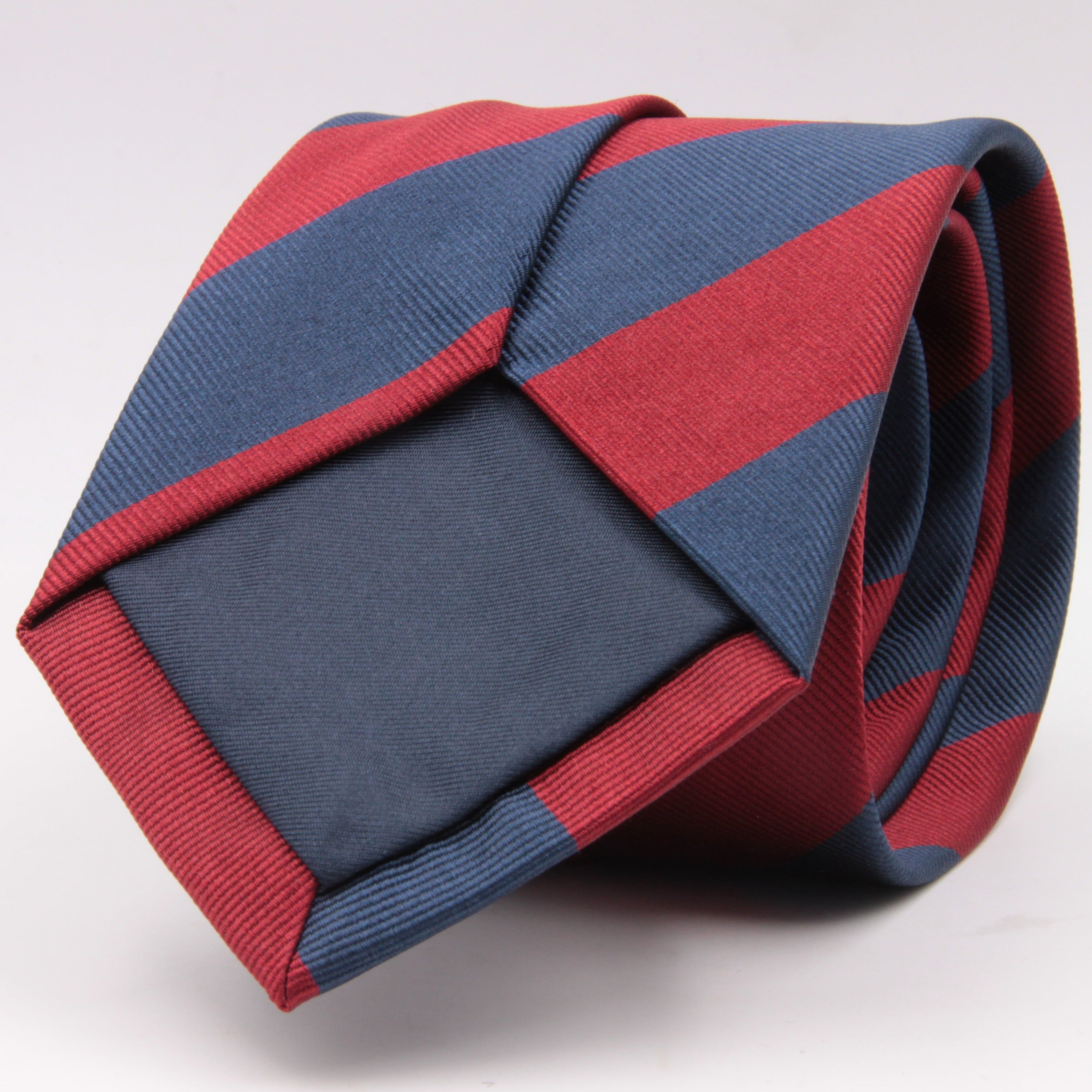 "Holliday & Brown for Cruciani & Bella 100% Silk Jacquard  Regimental ""Sidney Sussex College"" Blue and Red stripes tie Handmade in Italy 8 cm x 150 cm #5123"