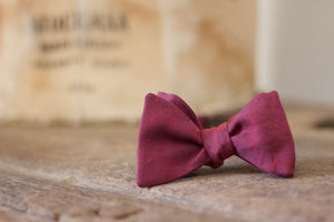 Noodles Bow Ties 100% Cotton  Magenta, red crimson and blue polka dots Handcrafted in Italy coated metal hardware  olive green gabardine inside hand-stitched labels handmade boxes self-tie bow ties