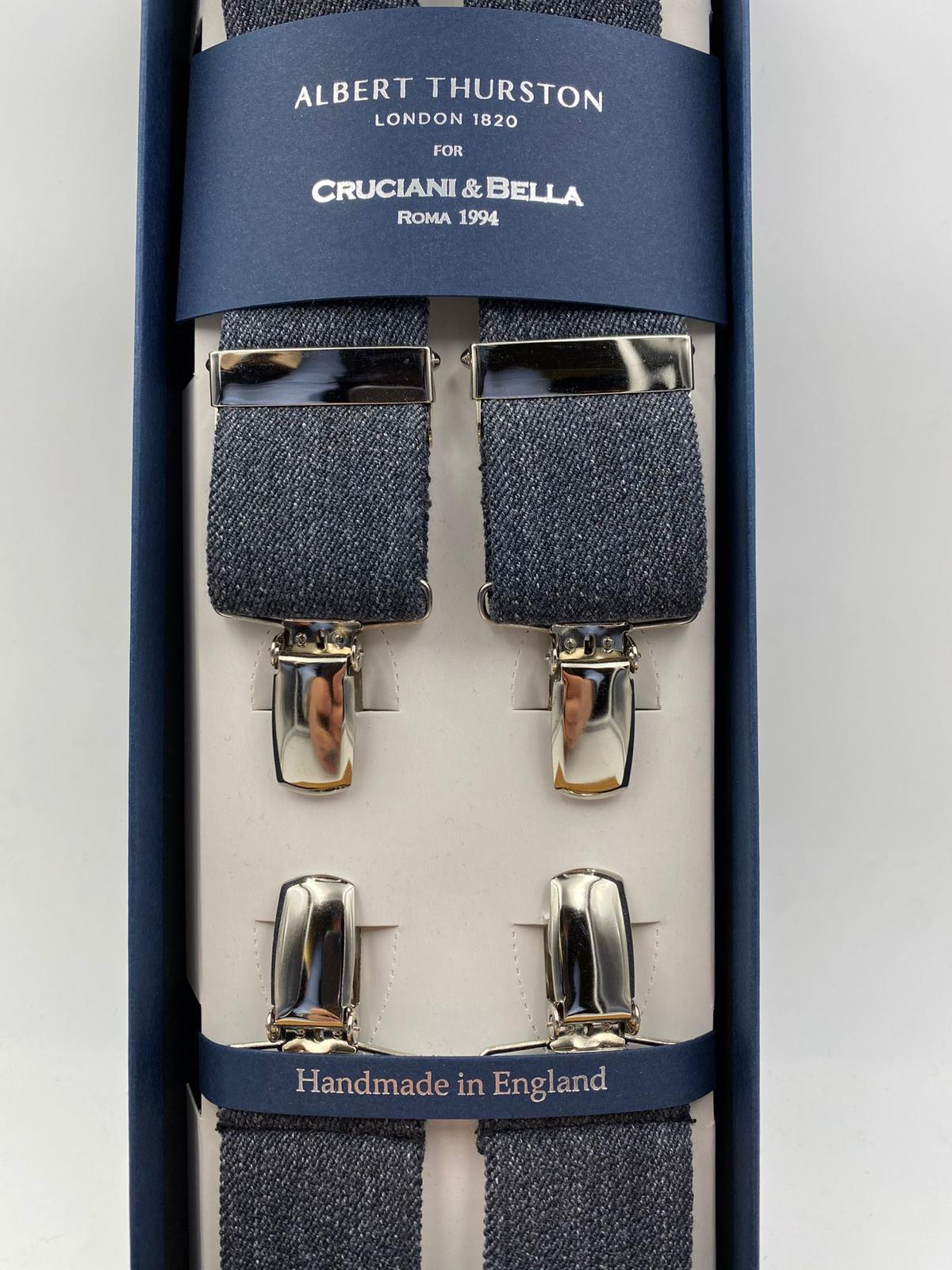 Albert Thurston for Cruciani & Bella Made in England Clip on Adjustable Sizing 35 mm elastic braces Medium Grey Plain X-Shaped Nickel Fittings Size: L #4832