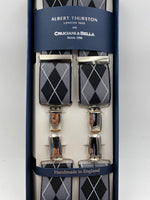 Albert Thurston for Cruciani & Bella Made in England Clip on Adjustable Sizing 35 mm elastic braces Black, Grey and White X-Shaped Nickel Fittings Size: L #4799