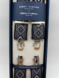 Albert Thurston for Cruciani & Bella Made in England Clip on Adjustable Sizing 35 mm elastic braces Black and Grey Patterned X-Shaped Nickel Fittings Size: L #4815