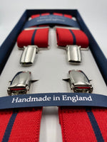 Albert Thurston for Cruciani & Bella Made in England Clip on Adjustable Sizing 35 mm elastic braces Red and Blue Stripe X-Shaped Nickel Fittings Size: L #4819