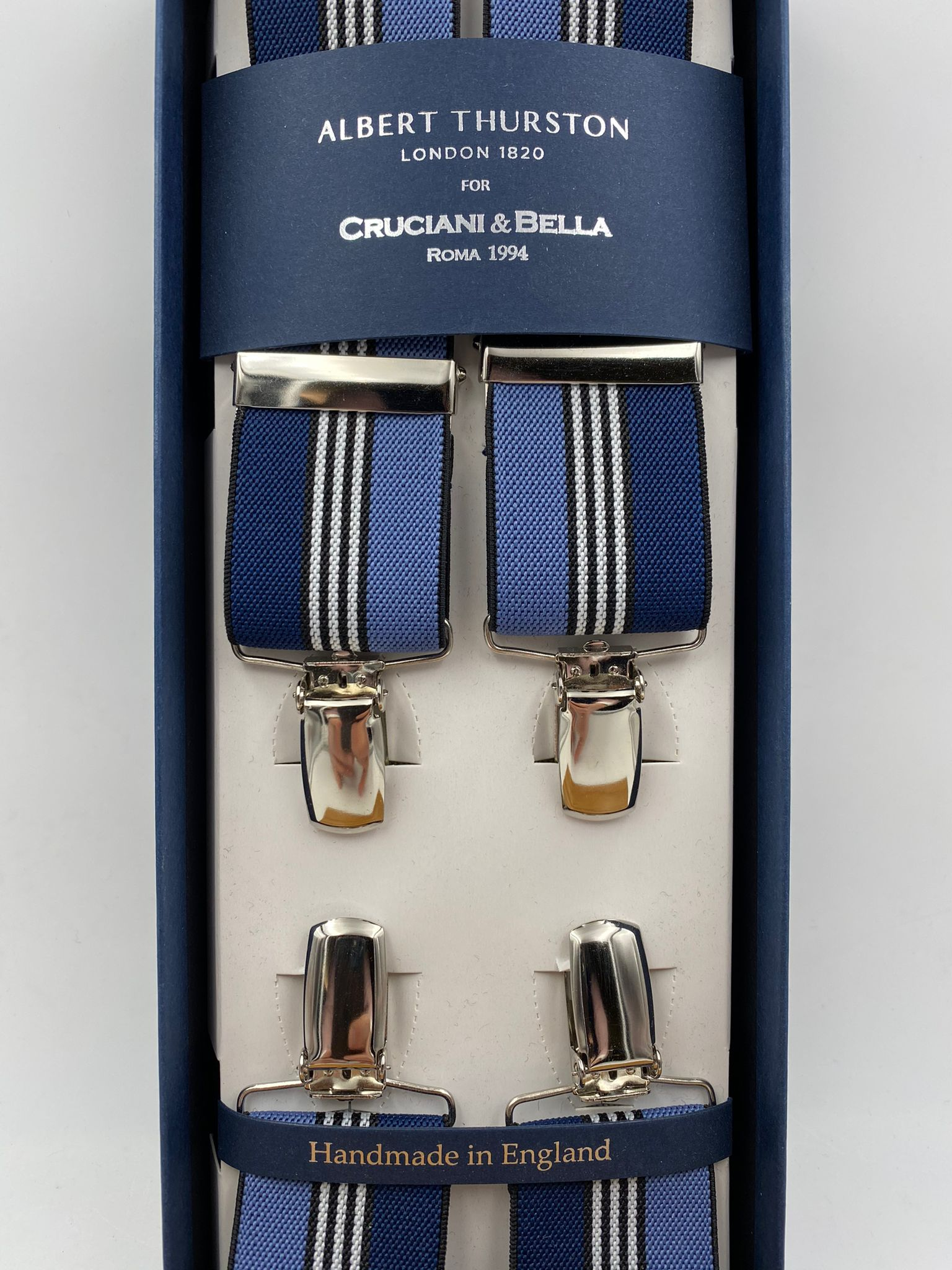 Albert Thurston for Cruciani & Bella Made in England Clip on Adjustable Sizing 35 mm elastic braces Blue, Sky and White Stripe X-Shaped Nickel Fittings Size: L #4806