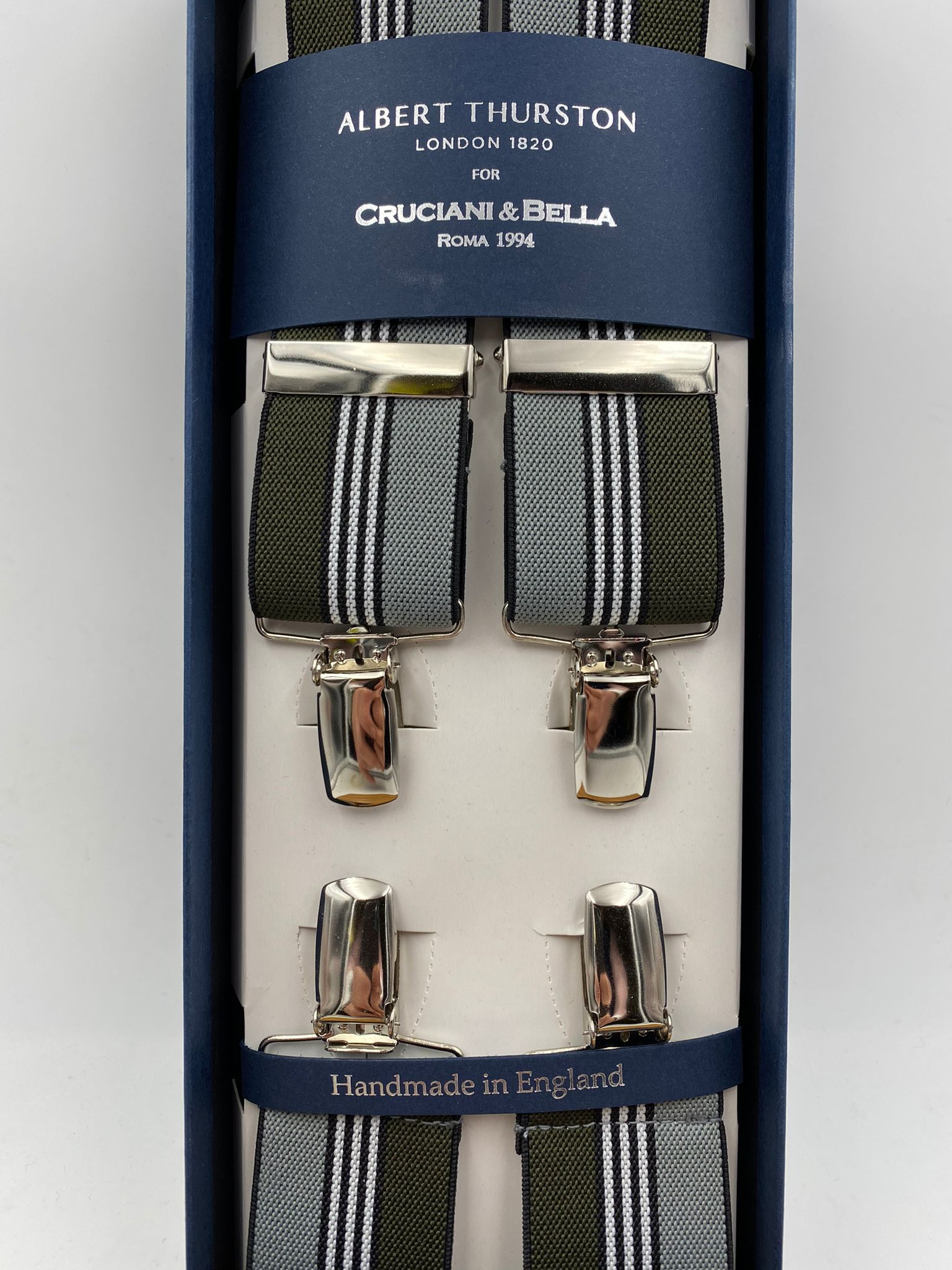 Albert Thurston for Cruciani & Bella Made in England Clip on Adjustable Sizing 35 mm elastic braces Green, Grey and White Stripe X-Shaped Nickel Fittings Size: L #4807
