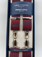 Albert Thurston for Cruciani & Bella Made in England Clip on Adjustable Sizing 35 mm elastic braces Red and Blue Patterned X-Shaped Nickel Fittings Size: L #4828