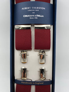 Albert Thurston for Cruciani & Bella Made in England Clip on Adjustable Sizing 35 mm elastic braces Burgundy Plain X-Shaped Nickel Fittings Size: L #4821
