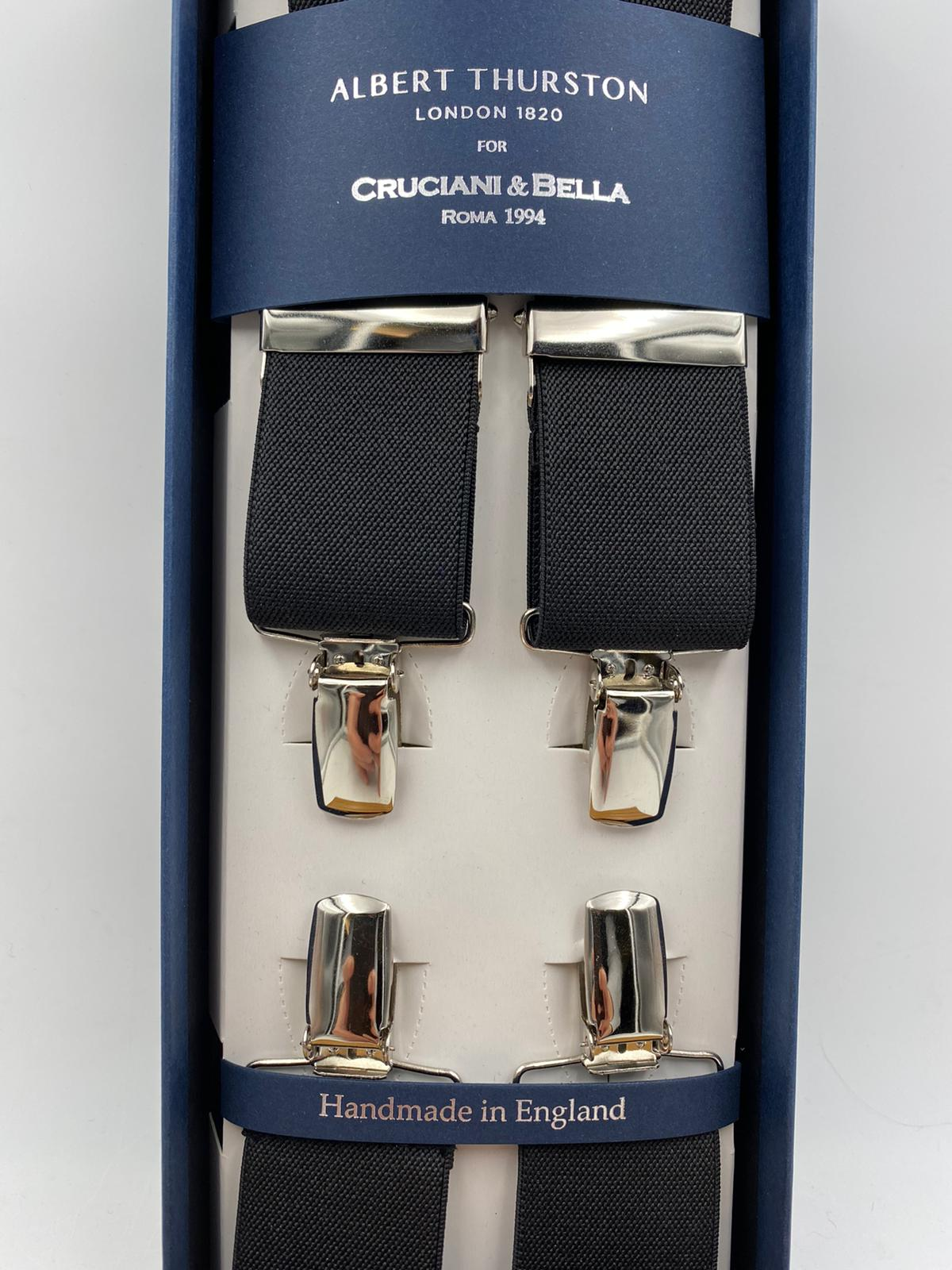 Albert Thurston for Cruciani & Bella Made in England Clip on Adjustable Sizing 35 mm elastic braces Black Plain X-Shaped Nickel Fittings Size: L #4823