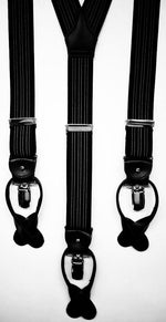 Albert Thurston - Elastic braces  - 2 in 1 - 35 mm - Navy Blue Plain   #4886