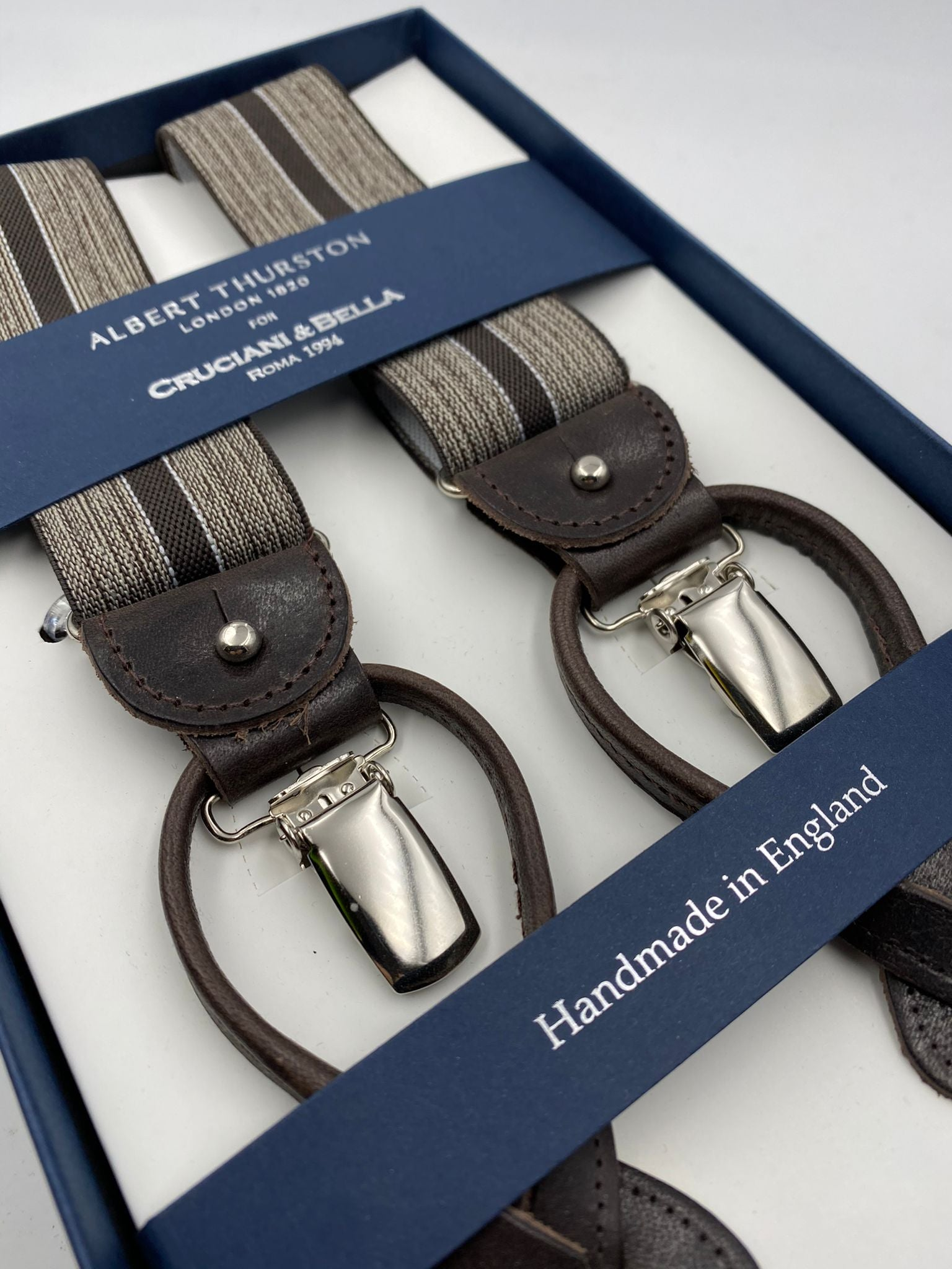 Albert Thurston for Cruciani & Bella Made in England 2 in 1 Adjustable Sizing 35 mm elastic braces Brown Stripes Y-Shaped Nickel Fittings #4877