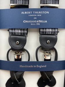 Albert Thurston for Cruciani & Bella Made in England 2 in 1 Adjustable Sizing 35 mm elastic braces Black and Grey Tartan Y-Shaped Nickel Fittings #4882