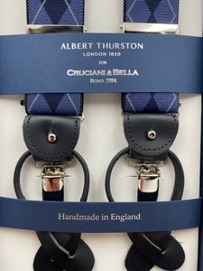 Albert Thurston for Cruciani & Bella Made in England 2 in 1 Adjustable Sizing 35 mm elastic braces Light Blue and Blue Tartan Y-Shaped Nickel Fittings #4885