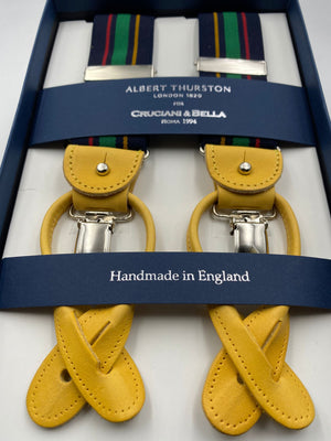 Albert Thurston for Cruciani & Bella Made in England 2 in 1 Adjustable Sizing 35 mm elastic braces Blue, Green, Red and Yellow  Stripes Y-Shaped Nickel Fittings #4863