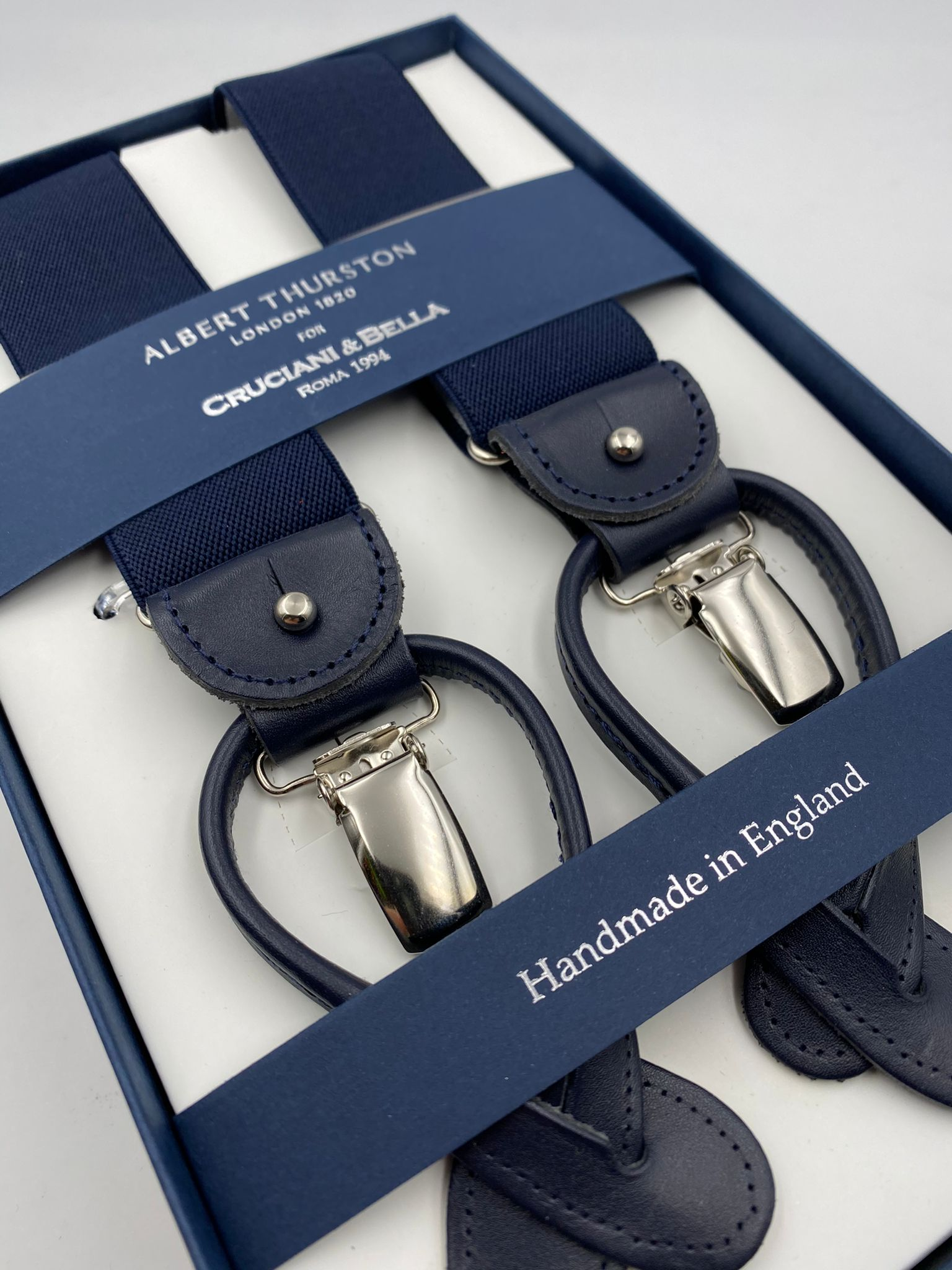 Albert Thurston for Cruciani & Bella Made in England 2 in 1 Adjustable Sizing 35 mm elastic braces Navy Blue Plain Y-Shaped Nickel Fittings #4886
