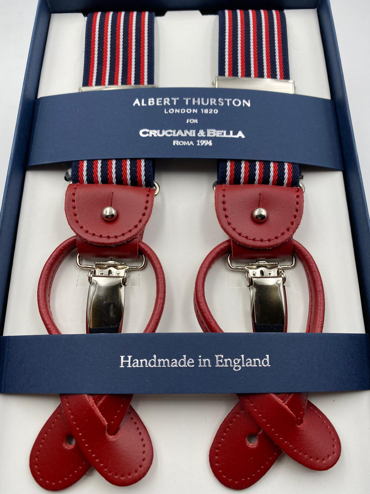 Albert Thurston for Cruciani & Bella Made in England 2 in 1 Adjustable Sizing 35 mm elastic braces Navy Blue, White and Red Stripes Y-Shaped Nickel Fittings #4867