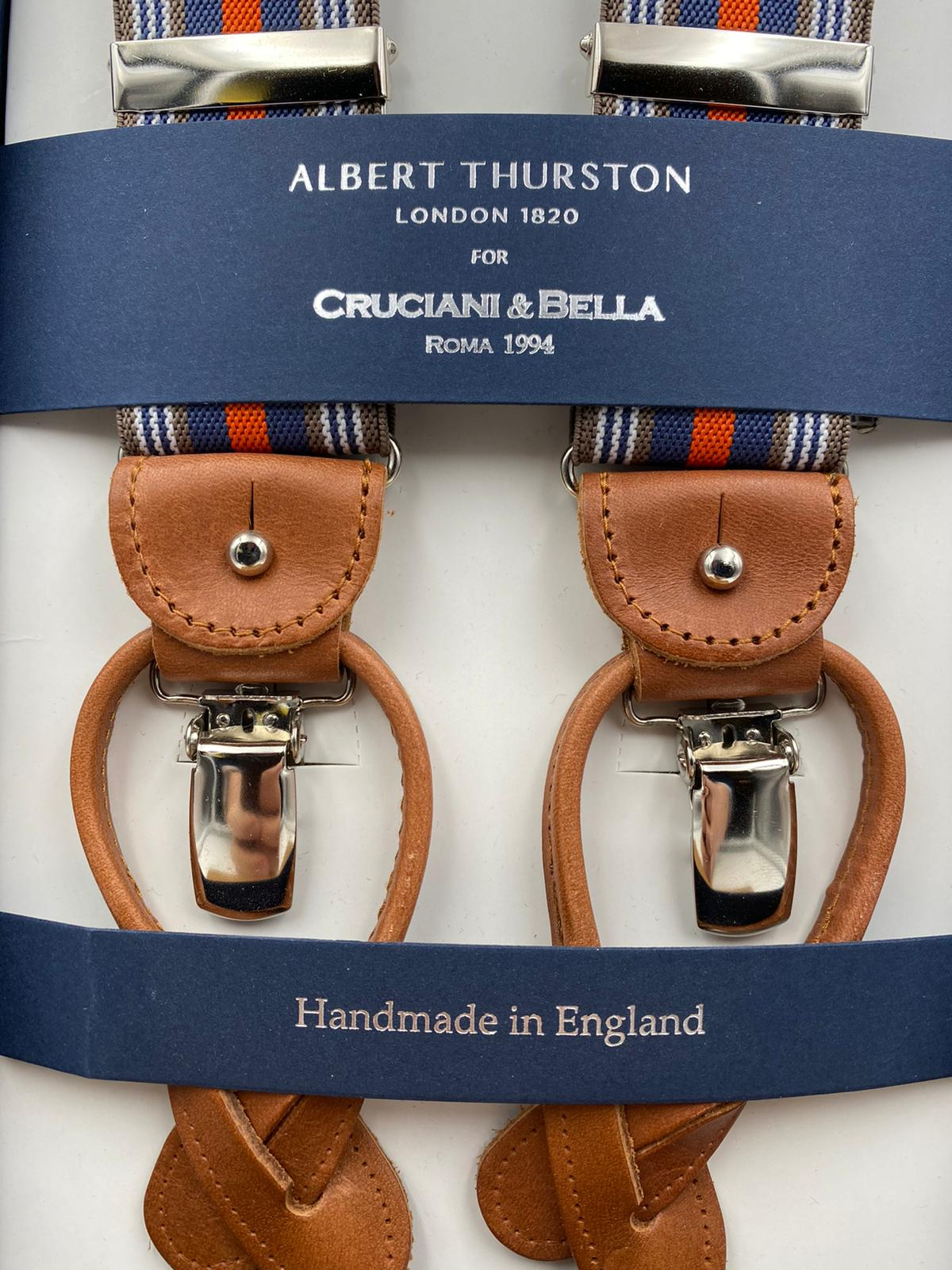 Albert Thurston for Cruciani & Bella Made in England 2 in 1 Adjustable Sizing 35 mm elastic braces Light Brown, Orange and Blue Stripes Y-Shaped Nickel Fittings #4874