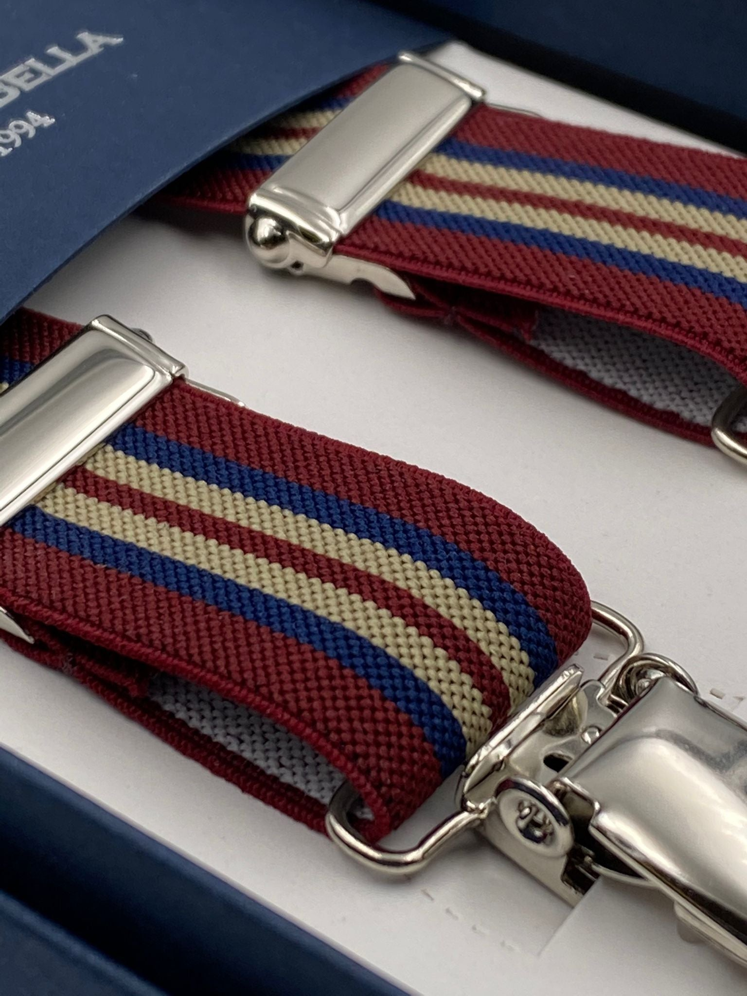 Albert Thurston for Cruciani & Bella Made in England Clip on Adjustable Sizing 25 mm elastic braces Bourgundy, Blue and Beige Stripes X-Shaped Nickel Fittings Size: L #4843