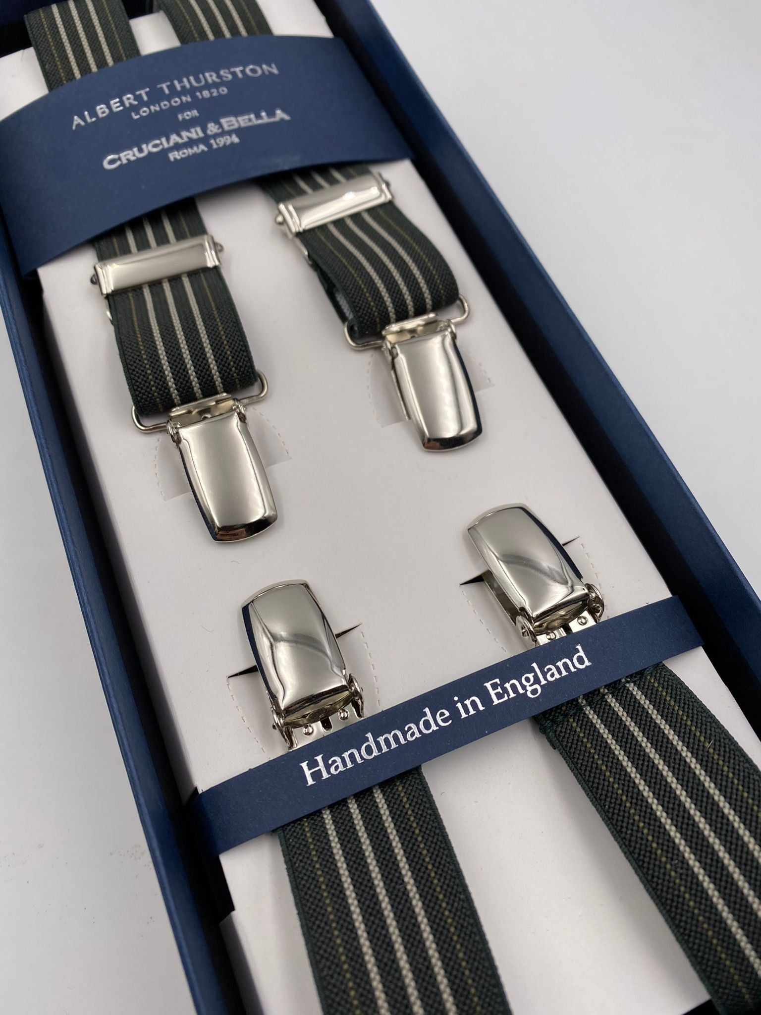 Albert Thurston for Cruciani & Bella Made in England Clip on Adjustable Sizing 25 mm elastic braces Green and Beige Stripes X-Shaped Nickel Fittings Size: L #4844