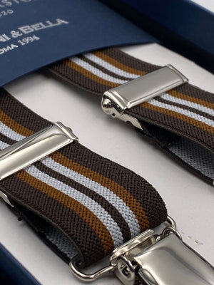 Albert Thurston for Cruciani & Bella Made in England Clip on Adjustable Sizing 25 mm elastic braces Brown and White Stripes X-Shaped Nickel Fittings Size: L #4856