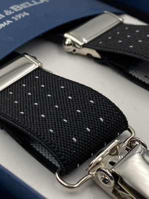 Albert Thurston for Cruciani & Bella Made in England Clip on Adjustable Sizing 25 mm elastic braces Black whit White Dots X-Shaped Nickel Fittings Size: L #4122
