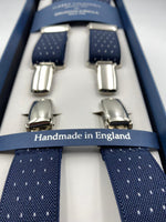 Albert Thurston for Cruciani & Bella Made in England Clip on Adjustable Sizing 25 mm elastic braces Blue whit White Dots X-Shaped Nickel Fittings Size: L #4834