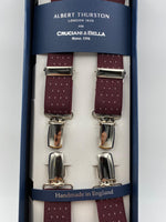 Albert Thurston for Cruciani & Bella Made in England Clip on Adjustable Sizing 25 mm elastic braces Bourgundy whit White Dots X-Shaped Nickel Fittings Size: L #4835