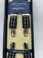 Albert Thurston for Cruciani & Bella Made in England Clip on Adjustable Sizing 25 mm elastic braces Black and White Stripes X-Shaped Nickel Fittings Size: L #0272