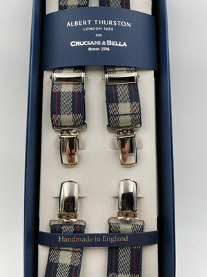 Albert Thurston for Cruciani & Bella Made in England Clip on Adjustable Sizing 25 mm elastic braces Blue, Grey and Red Tartan X-Shaped Nickel Fittings Size: L #4858