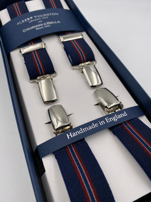 Albert Thurston for Cruciani & Bella Made in England Clip on Adjustable Sizing 25 mm elastic braces Blue and Red Stripes X-Shaped Nickel Fittings Size: L #4859
