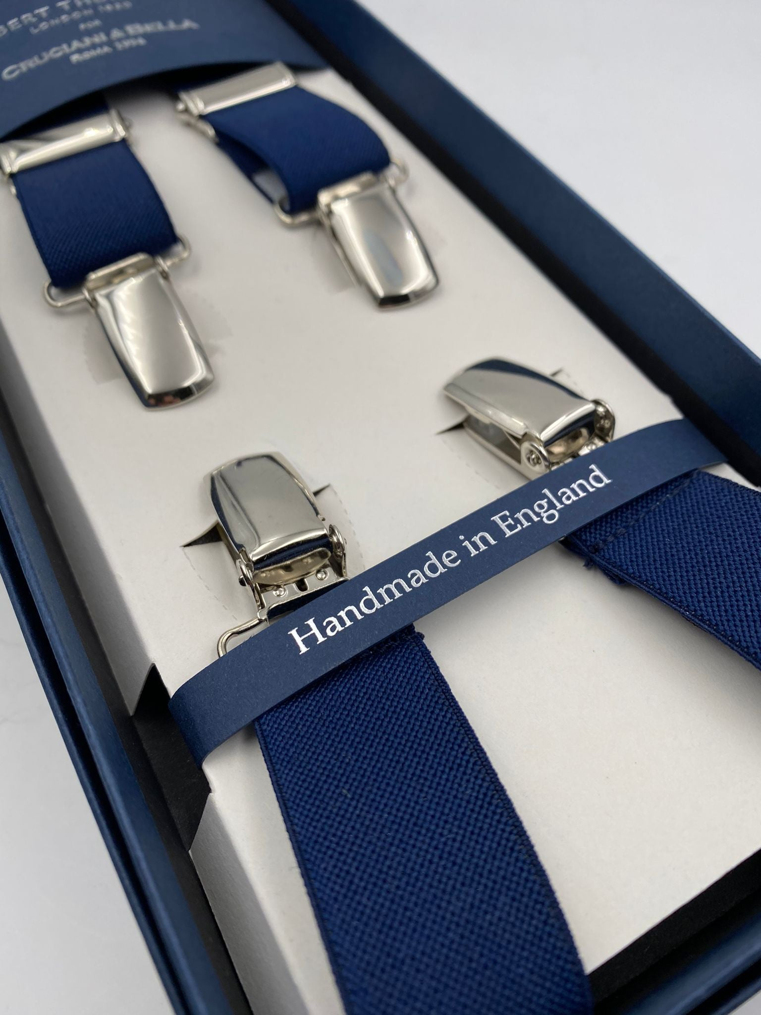 Albert Thurston for Cruciani & Bella Made in England Clip on Adjustable Sizing 25 mm elastic braces Blue Plain Color X-Shaped Nickel Fittings Size: L #4113