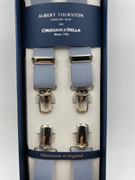 Albert Thurston for Cruciani & Bella Made in England Clip on Adjustable Sizing 25 mm elastic braces Grey Plain Color X-Shaped Nickel Fittings Size: L #4855