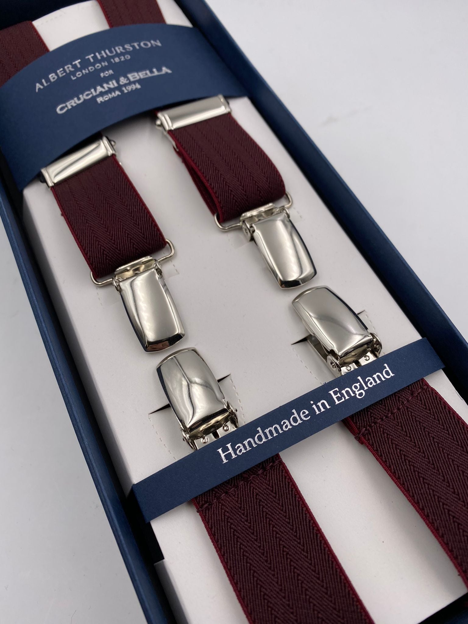 Albert Thurston for Cruciani & Bella Made in England Clip on Adjustable Sizing 25 mm elastic braces Bourgundy Harringbone Plain Color X-Shaped Nickel Fittings Size: L #4840