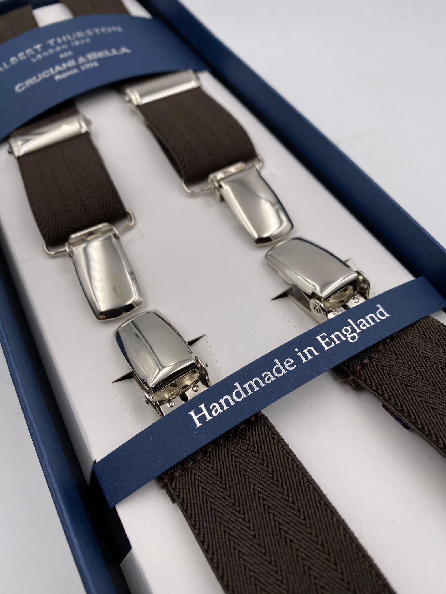 Albert Thurston for Cruciani & Bella Made in England Clip on Adjustable Sizing 25 mm elastic braces Brown Harringbone Plain Color X-Shaped Nickel Fittings Size: L #4841
