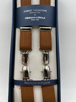 Albert Thurston for Cruciani & Bella Made in England Clip on Adjustable Sizing 25 mm elastic braces Mustard Harringbone Plain Color X-Shaped Nickel Fittings Size: L #4842