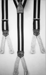 Albert Thurston - Elastic Braces - 25 mm -  Bourgundy and Blue  Stripes   #4890