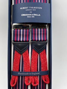 Albert Thurston for Cruciani & Bella Made in England Adjustable Sizing 40 mm Woven Barathea  Midnight blue, Red and Pink stripe braces Braid ends Y-Shaped Nickel Fittings Size: XL #4532