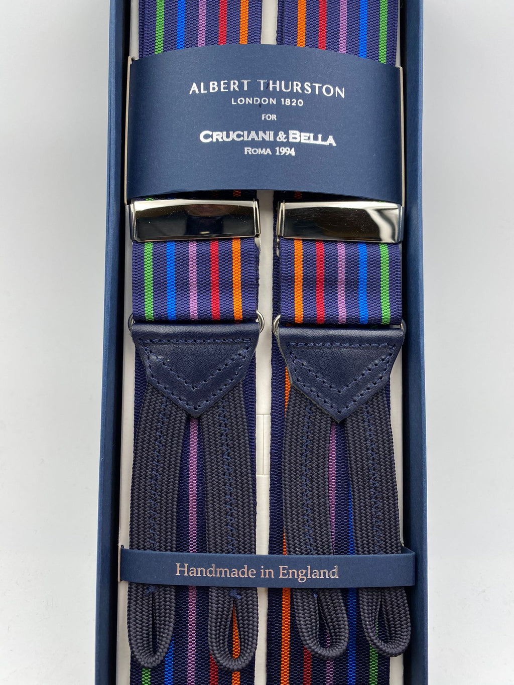 Albert Thurston for Cruciani & Bella Made in England Adjustable Sizing 40 mm Woven Barathea  Midnight blue and Multicolor Stripes Braces Braid ends Y-Shaped Nickel Fittings Size: XL #4996
