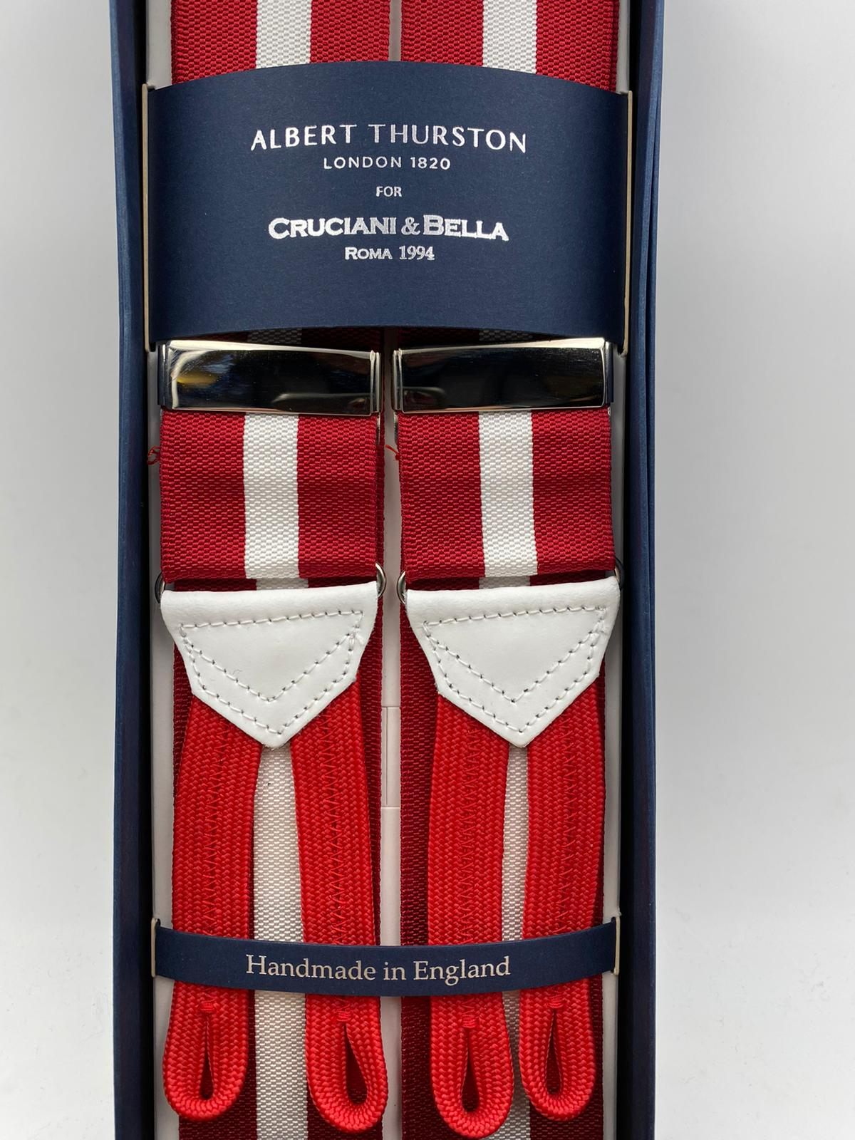 Albert Thurston for Cruciani & Bella Made in England Adjustable Sizing 40 mm Woven Barathea  Red and White stripes Braces Braid ends Y-Shaped Nickel Fittings Size: XL #4529