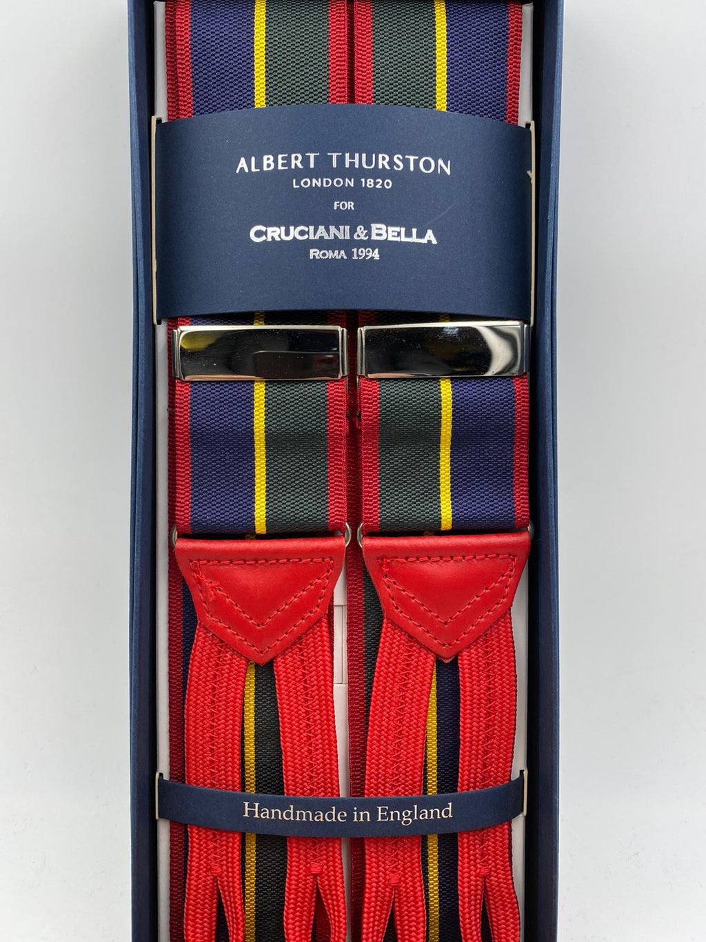 Albert Thurston for Cruciani & Bella Made in England Adjustable Sizing Blue, green, yellow and red stripes braces 40 mm Woven Barathea  Braid ends Y-Shaped Nickel Fittings Size: XL #4299