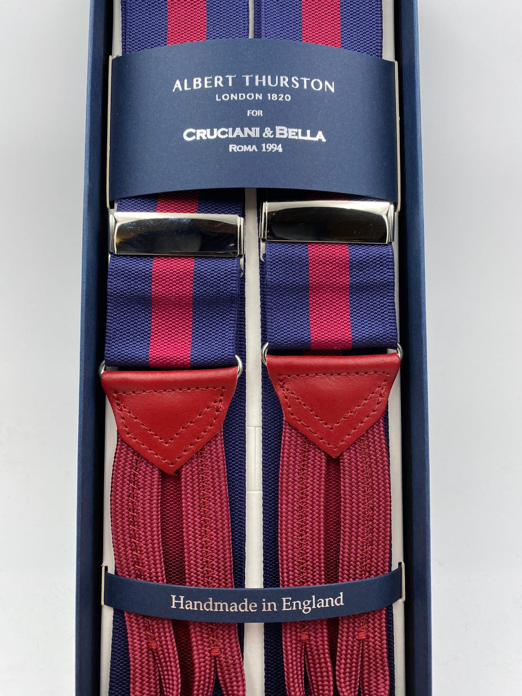 Albert Thurston for Cruciani & Bella Made in England Adjustable Sizing 40 mm Woven Barathea  Blue and Red Stripes Braces Braid ends Y-Shaped Nickel Fittings Size: XL #5004