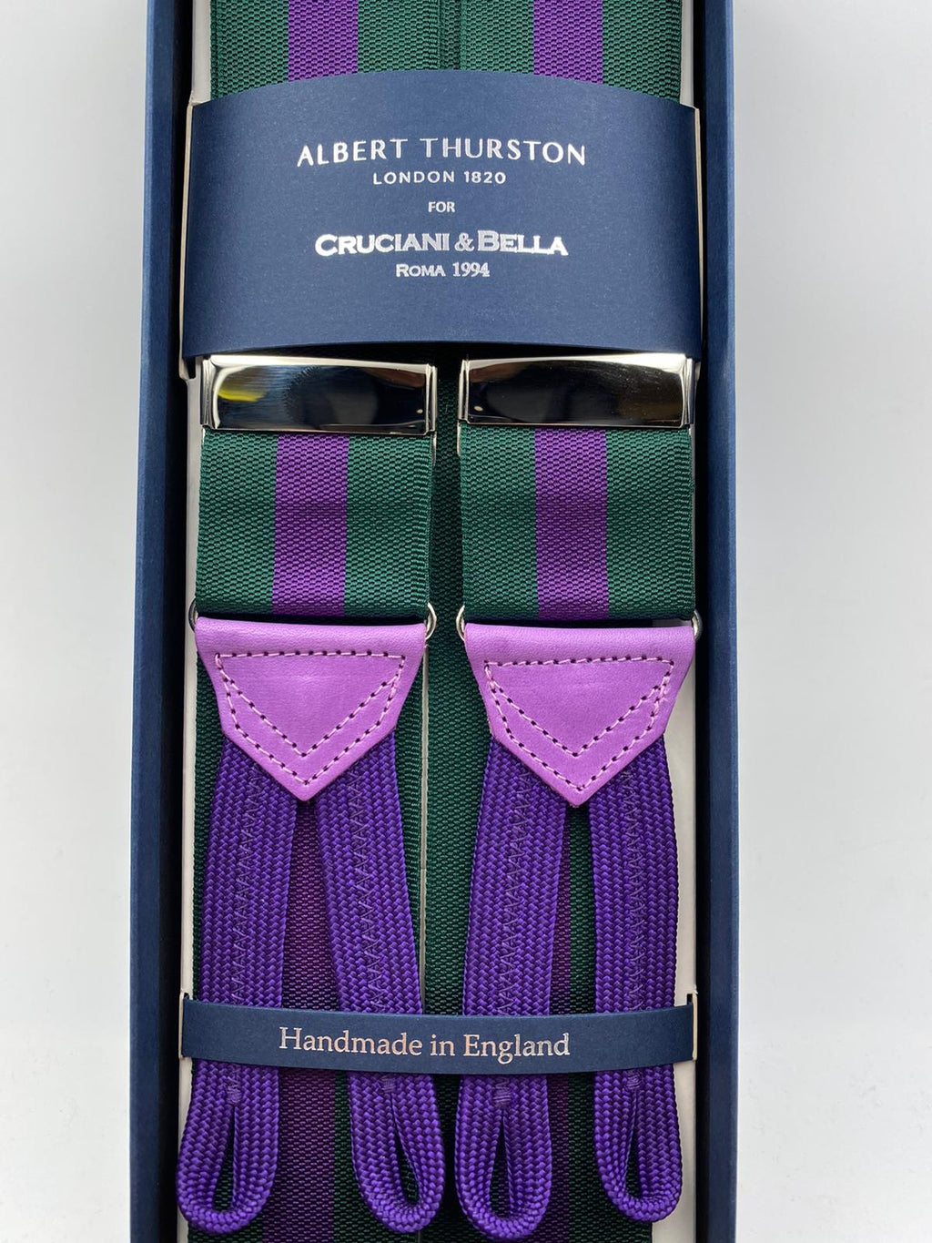 Albert Thurston for Cruciani & Bella Made in England Adjustable Sizing 40 mm Woven Barathea  Green and Purple Stripes Braces Braid ends Y-Shaped Nickel Fittings Size: XL #5001
