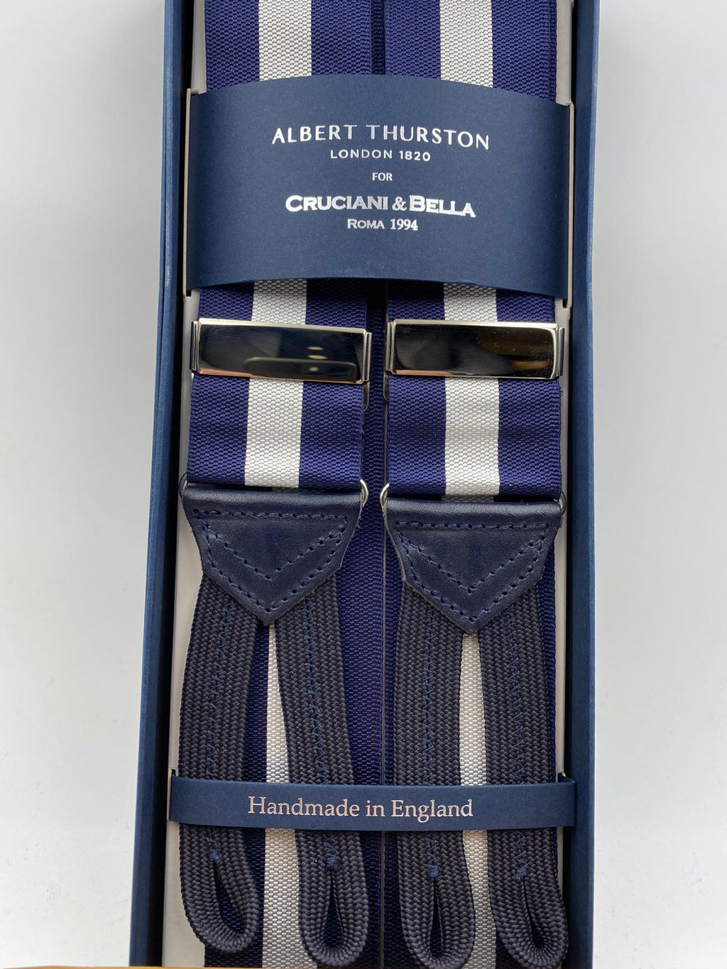 Albert Thurston for Cruciani & Bella Made in England Adjustable Sizing 40 mm Woven Barathea  Blue and White Stripes Braces Braid ends Y-Shaped Nickel Fittings Size: XL #5003