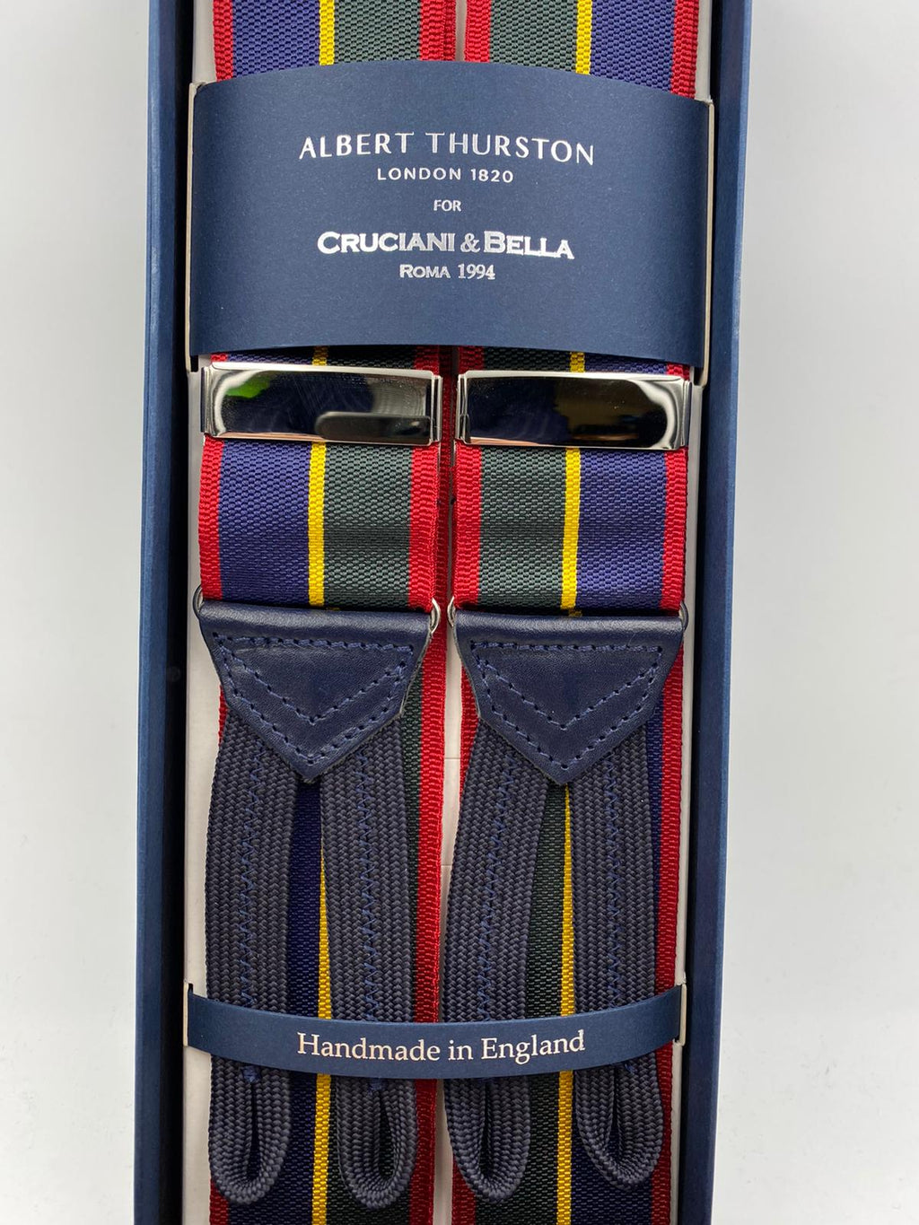 Albert Thurston for Cruciani & Bella Made in England Adjustable Sizing 40 mm Woven Barathea  Blue, Green, red and Yellow Stripes Braces Braid ends Y-Shaped Nickel Fittings Size: XL #4998