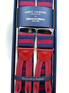 Albert Thurston for Cruciani & Bella Made in England Adjustable Sizing 40 mm Woven Barathea  Blue and Red horizontal Stripes Braces Braid ends Y-Shaped Nickel Fittings Size: XL #4988