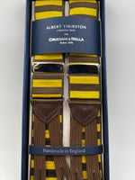 Albert Thurston for Cruciani & Bella Made in England Adjustable Sizing 40 mm Woven Barathea  Brown and Yellow horizontal Stripes Braces Braid ends Y-Shaped Nickel Fittings Size: XL #4989