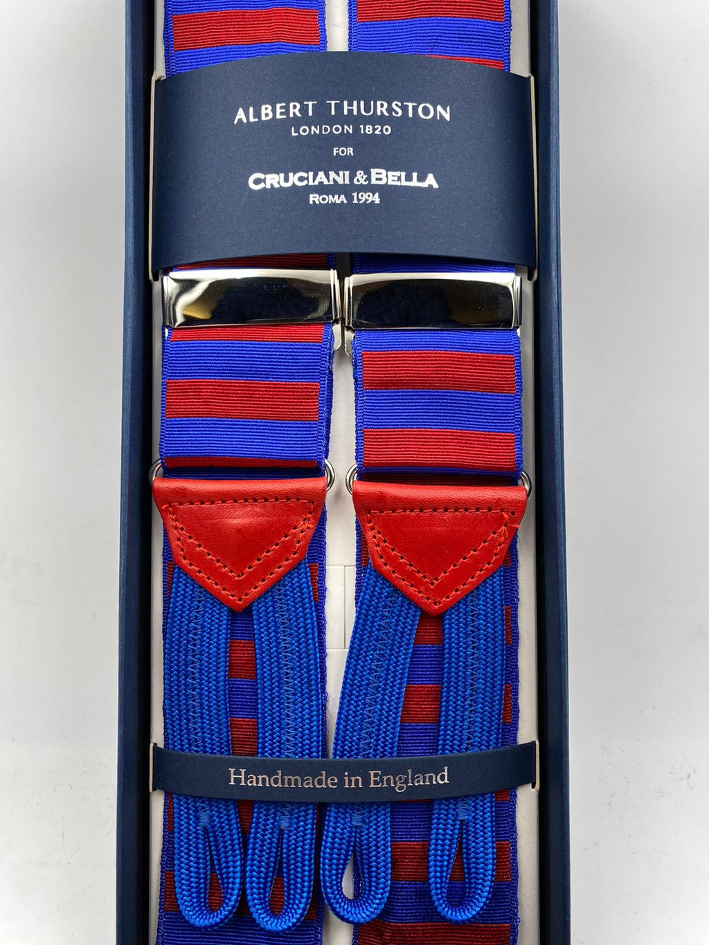 Albert Thurston for Cruciani & Bella Made in England Adjustable Sizing 40 mm Woven Barathea  Light Blue and Red horizontal Stripes Braces Braid ends Y-Shaped Nickel Fittings Size: XL #4991