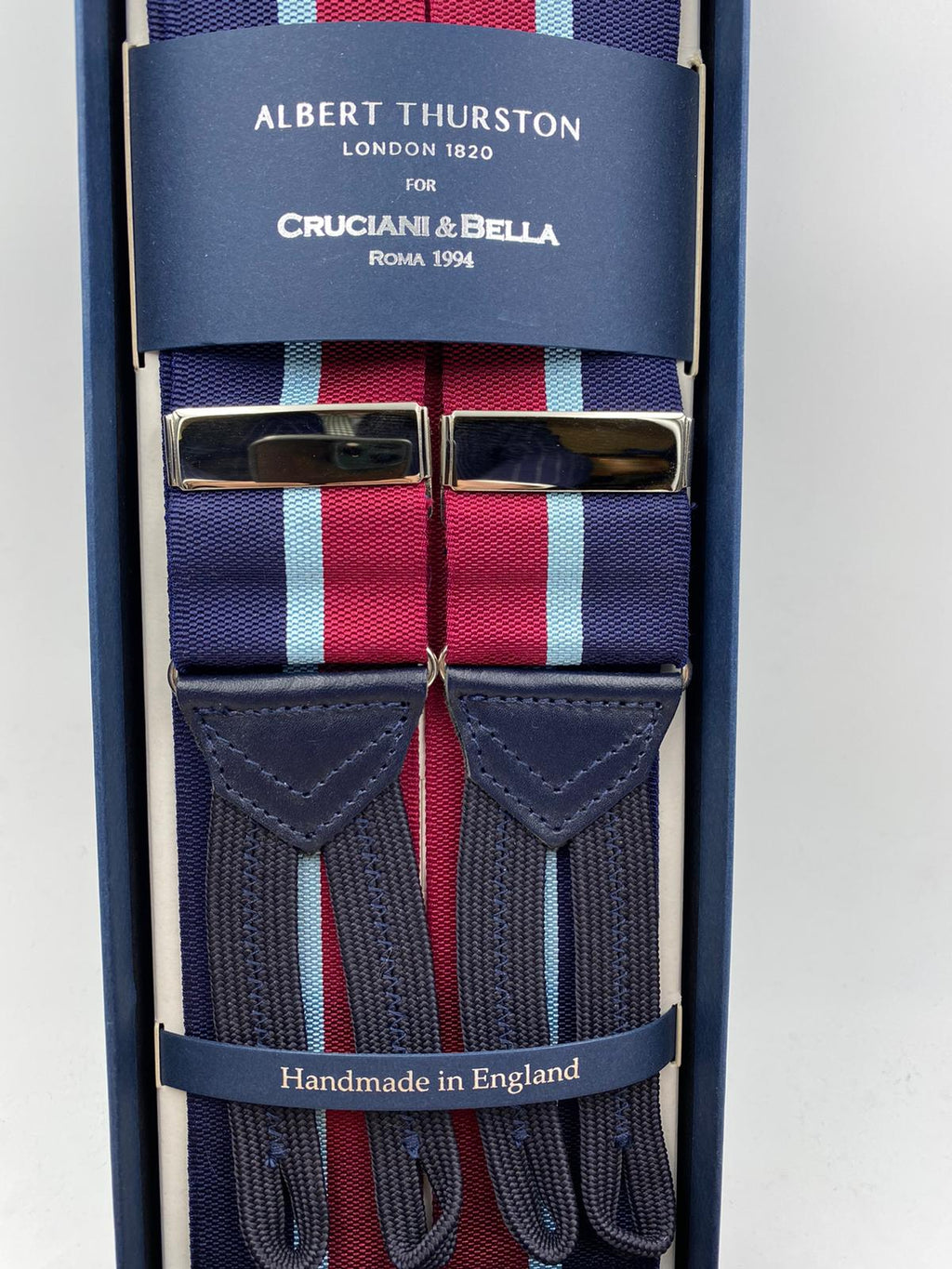 Albert Thurston for Cruciani & Bella Made in England Adjustable Sizing 40 mm Woven Barathea  Blue, Sky Blue and Red Stripes Braces Braid ends Y-Shaped Nickel Fittings Size: XL #4999