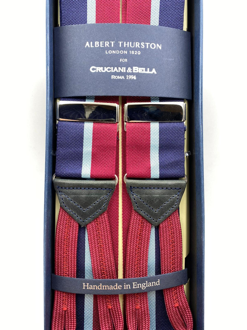 Albert Thurston for Cruciani & Bella Made in England Adjustable Sizing 40 mm Woven Barathea  Blue, Sky Blue and Red Stripes Braces Braid ends Y-Shaped Nickel Fittings Size: L #2366