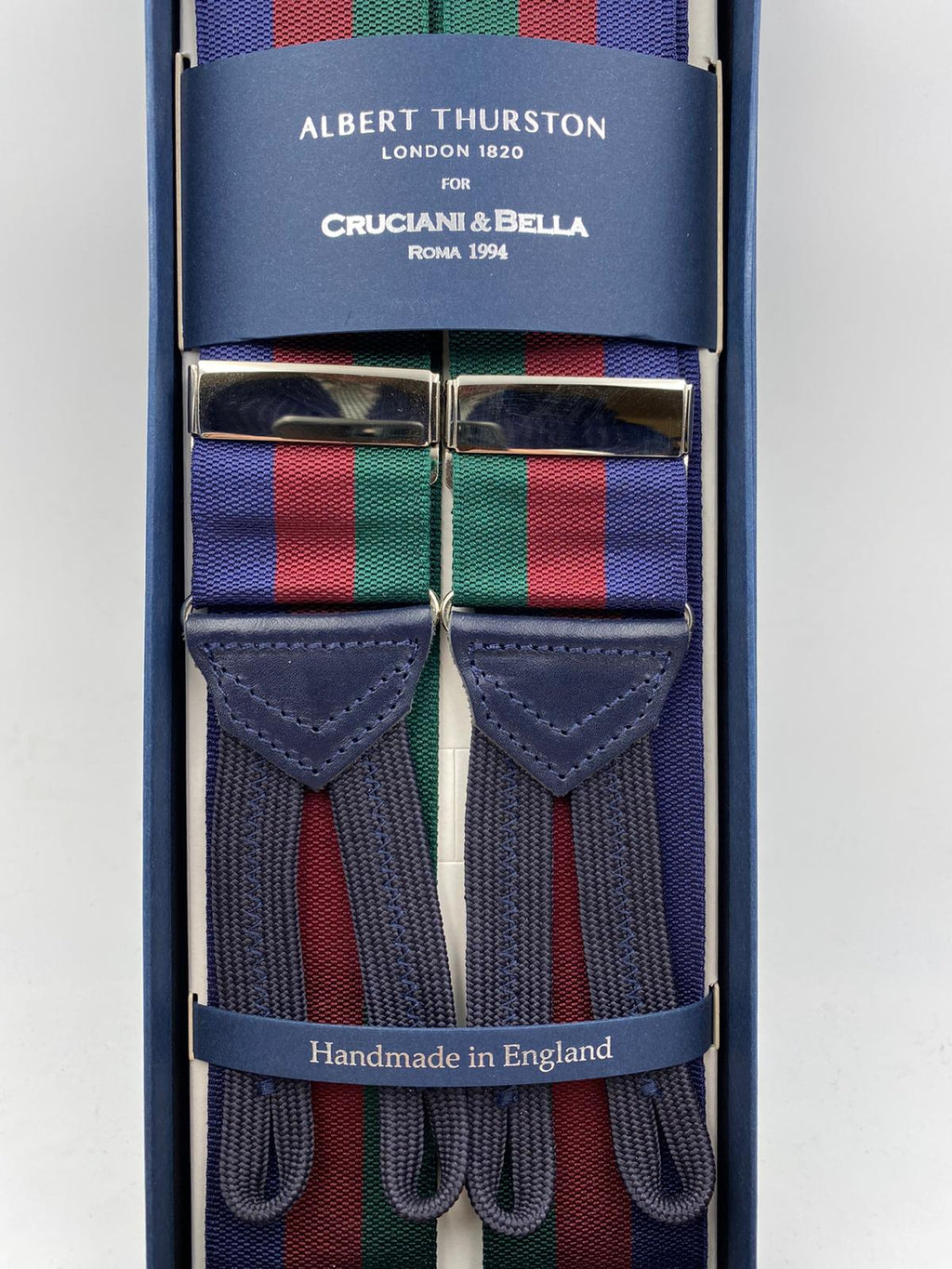 Albert Thurston for Cruciani & Bella Made in England Adjustable Sizing 40 mm Woven Barathea  Blue, Bourgundy and Green Stripes Braces Braid ends Y-Shaped Nickel Fittings Size: XL #5000