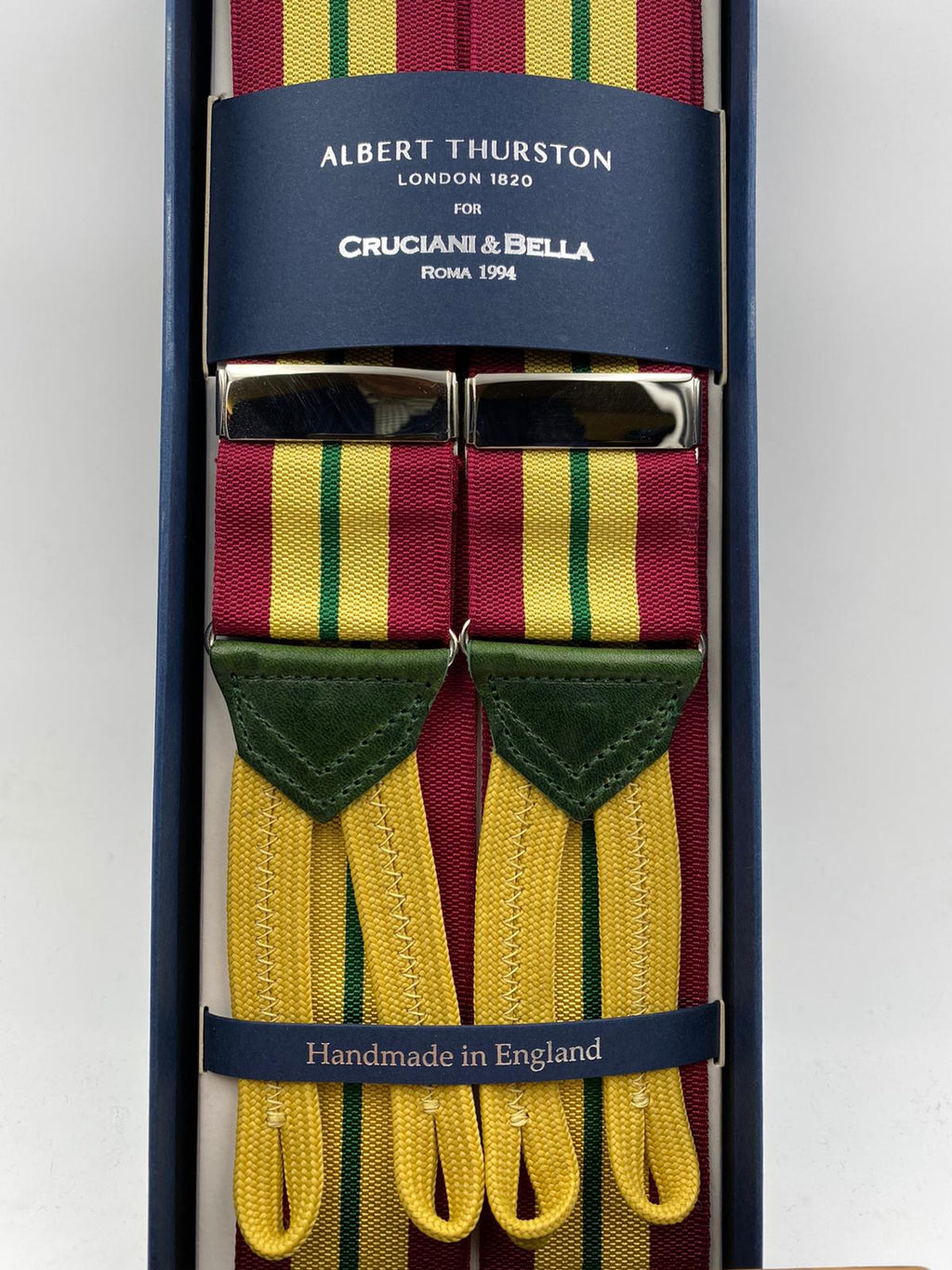 Albert Thurston for Cruciani & Bella Made in England Adjustable Sizing 40 mm Woven Barathea  Wine, Yellow and Green Stripes Braces Braid ends Y-Shaped Nickel Fittings Size: XL #4997