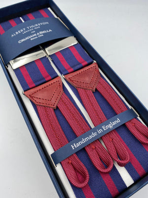 Albert Thurston for Cruciani & Bella Made in England Adjustable Sizing 40 mm Woven Barathea  Blue and Bourgundy Stripes Braces Braid ends Y-Shaped Nickel Fittings Size: XL #5002